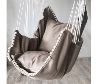 Hammock fabric hanging from the Infancy of velor 'Cappuccino Light'