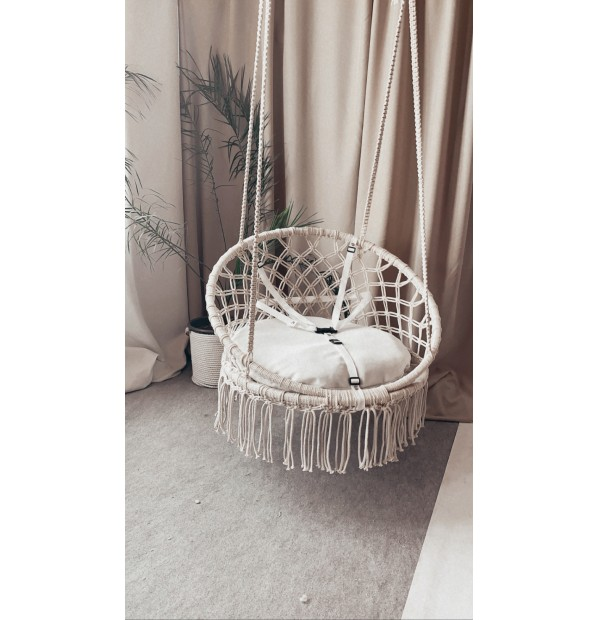 Hammock on a circle in the technique of macrame Infancy ™, breast cushion and seat belts