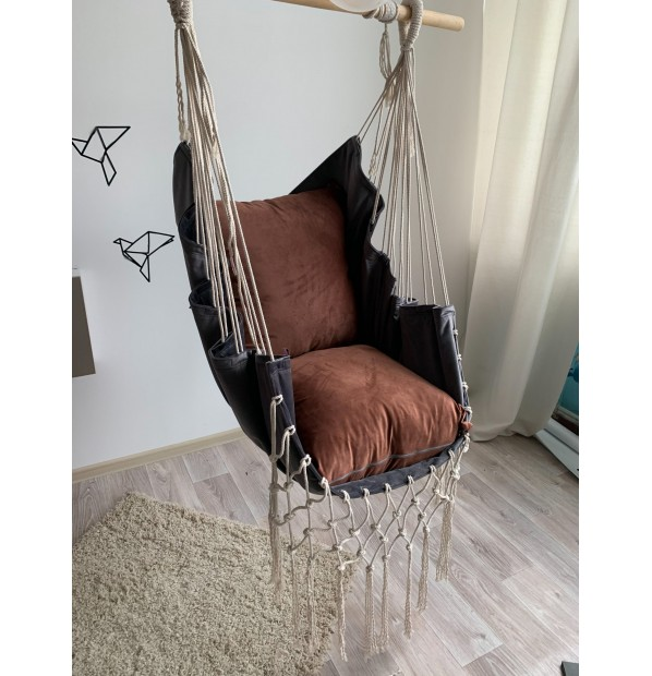 Hammock hanging cloth Infancy Velor 'Malachite' gray-brown from Infancy