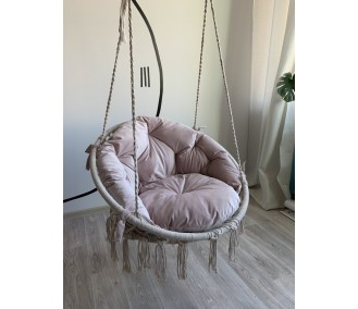 Hammock on a circle in the technique of macrame Infancy ™, with a pink pillow