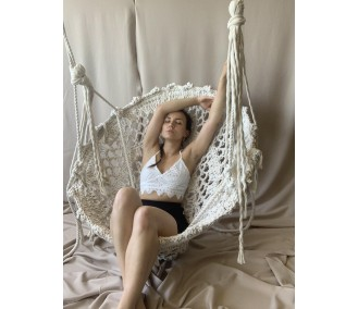 Braided hammock on the metal circle 'Lace' Infancy ™, milk
