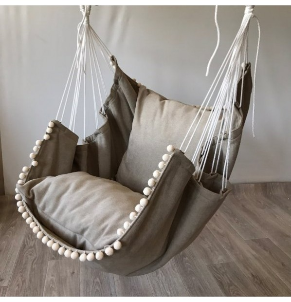 Hammock fabric hanging from the Infancy of velor 'Cappuccino'