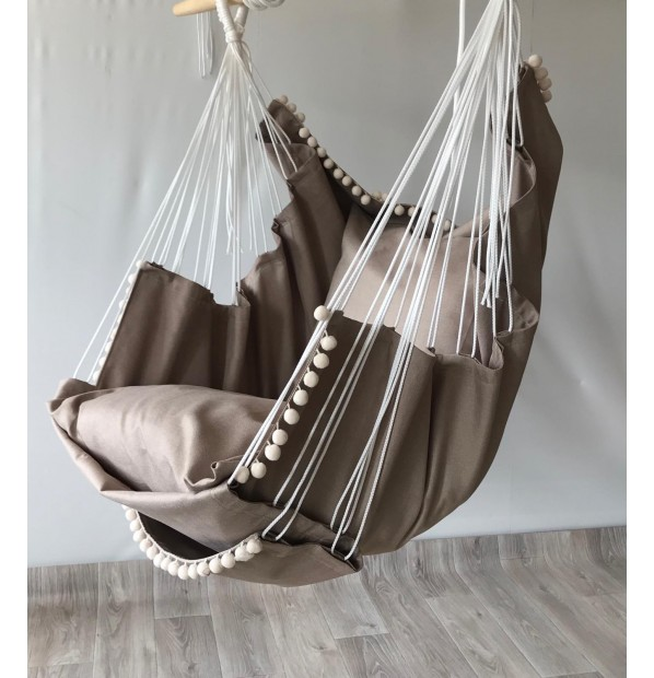 Hammock fabric hanging from the Infancy of velor 'Taup PRO'