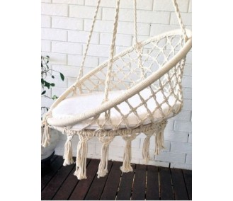 Hammock on a circle C in the art macrame white pillow