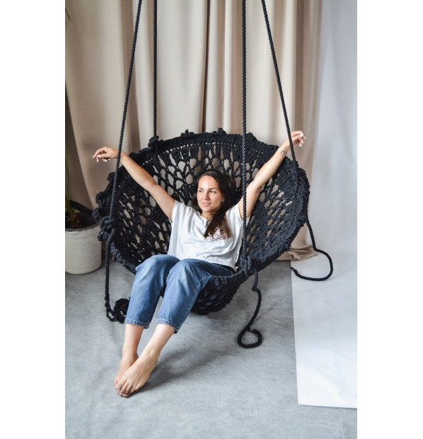 Braided hammock on the metal circle 'Lace' Infancy ™, black