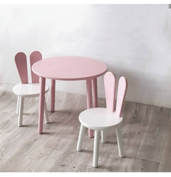 A set of a round table and two chairs 'pink ears' of the Infancy