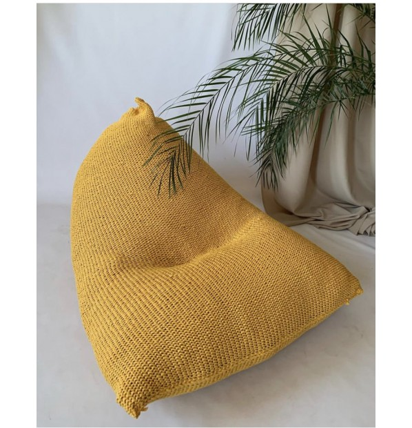 Chair cushion with a knitted cover yellow