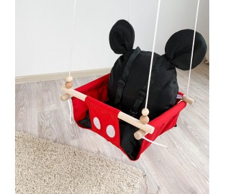 """Hanging fabric baby swing from Infancy """"Mickey"""" with a seat belt"""