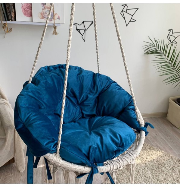 Hammock on a circle in the technique of macrame Infancy ™, with aqua pillow