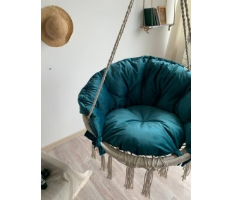 Hammock on a circle in the technique of macrame Infancy ™, with turquoise blue pillow