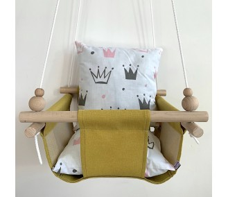 """Cloth hanging swing for children """"Crowns"""" yellow"""