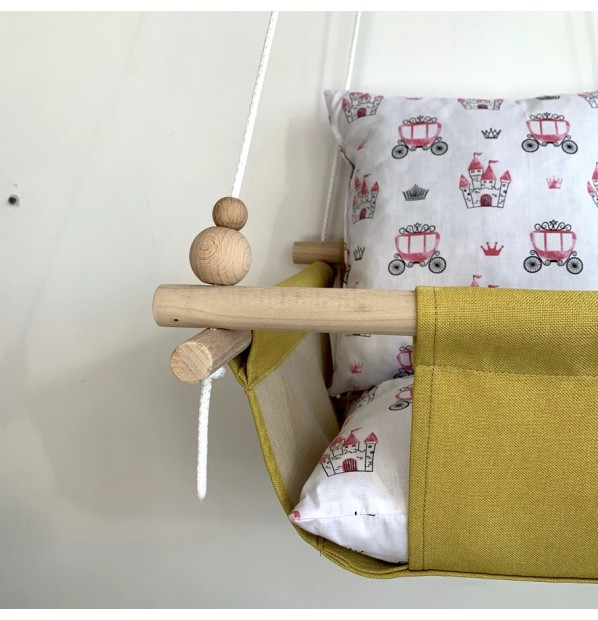 """Cloth hanging swing for children """"Carriages"""" yellow"""