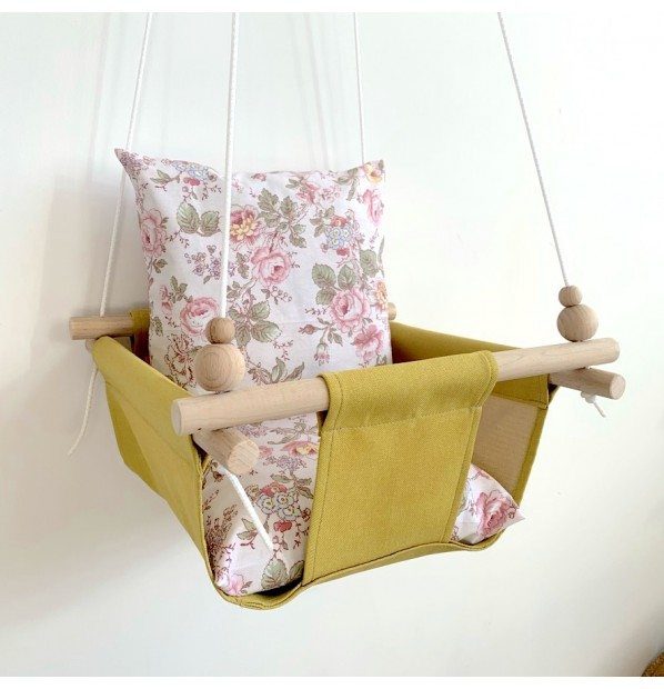 """Fabric hanging swing for children from Infancy """"Provence"""" Yellow"""