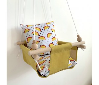 """Cloth hanging swing for children """"Slices"""" yellow"""