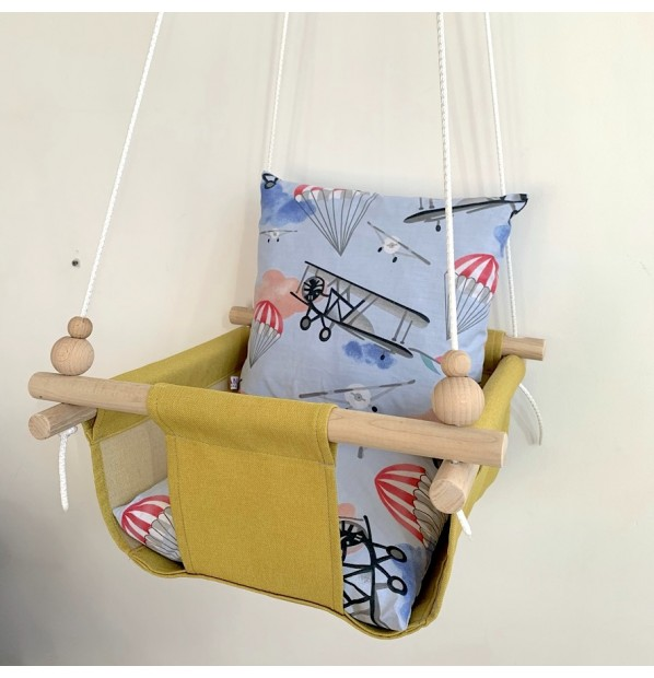 """Fabric hanging swing for children from Infancy """"Aviation"""" Yellow"""