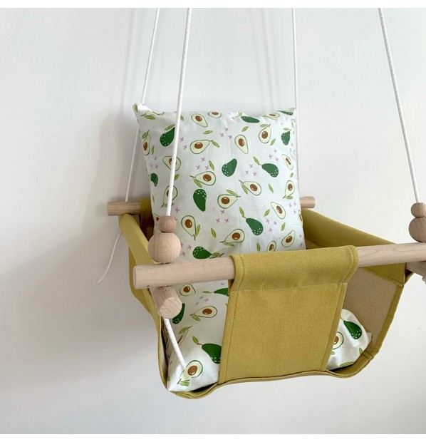 """Fabric hanging swing for children from Infancy """"Avocado"""" Yellow"""