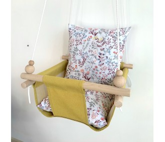 """Fabric hanging swing for children from Infancy """"Wildflowers"""" Yellow"""