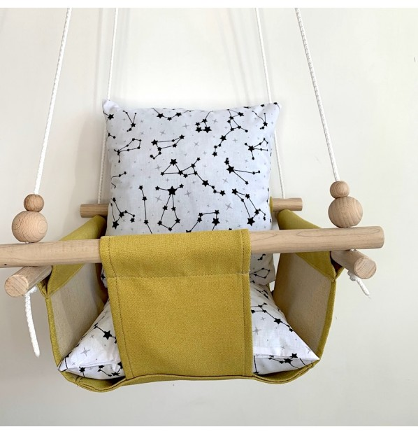 """Fabric hanging swing for children from Infancy """"Constellation"""" Yellow"""