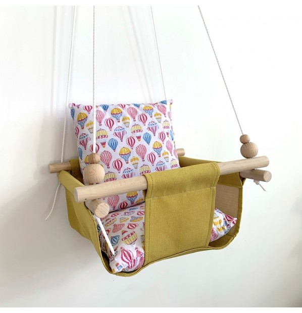 """Fabric swing for children from Infancy """"Balloons"""" yellow"""