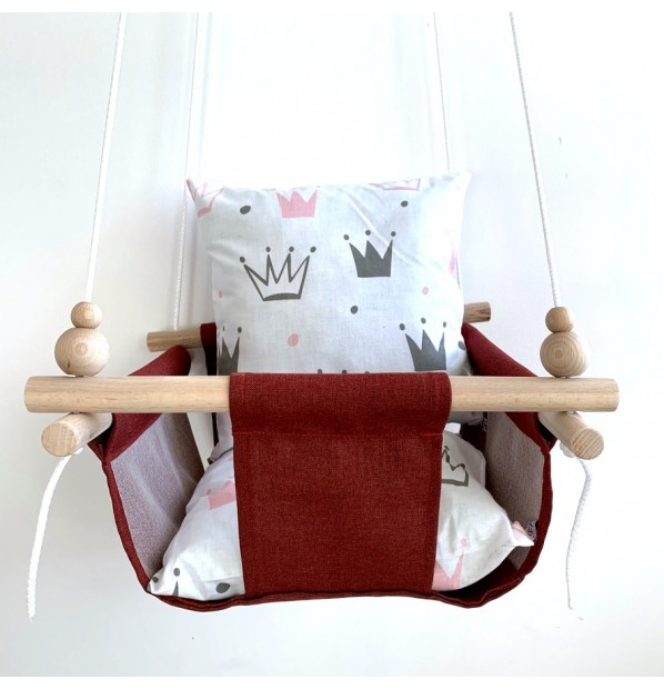 """Cloth hanging swing for children """"Crowns"""" red"""