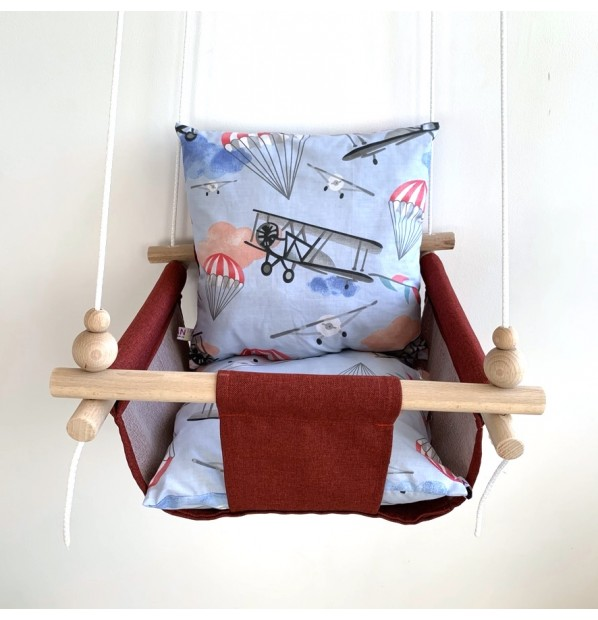 """Fabric hanging swing for children from Infancy """"Aviation"""" red"""