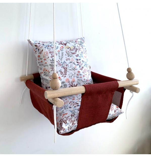 """Fabric hanging swing for children from Infancy """"Wildflowers"""" red"""
