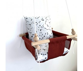 """Fabric hanging swing for children from Infancy """"Constellation"""" red"""