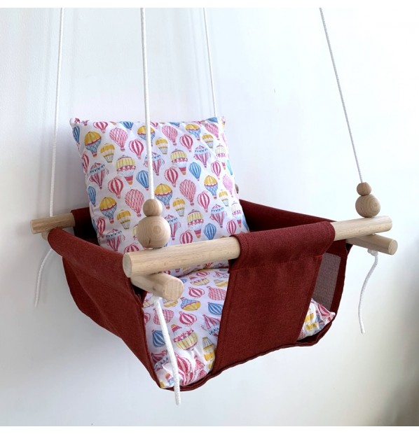 """Fabric swing for children from Infancy """"Balloons"""" red"""