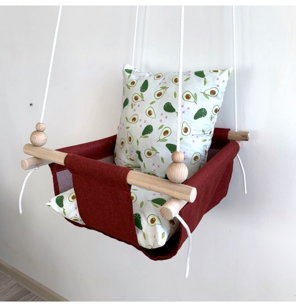 """Fabric hanging swing for children from Infancy """"Avocado"""" red"""