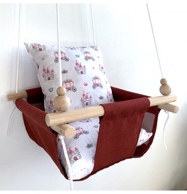 """Cloth hanging swing for children """"Carriages"""" red"""