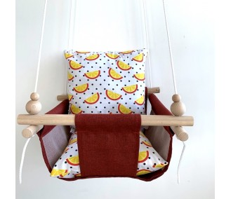 """Cloth hanging swing for children """"Slices""""  red"""