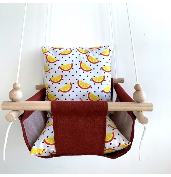 """Cloth hanging swing for children """"Slices"""" Bordeaux"""