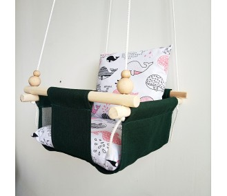 Tissue Swing for children infancy 'Pink Whales' green