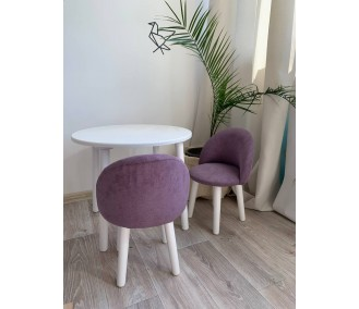 """Set of round table and two chairs """"Infancy"""" """"Adele"""" violet"""