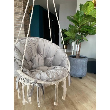 Hammock on a circle in the technique of macrame Infancy ™, with milky pillow
