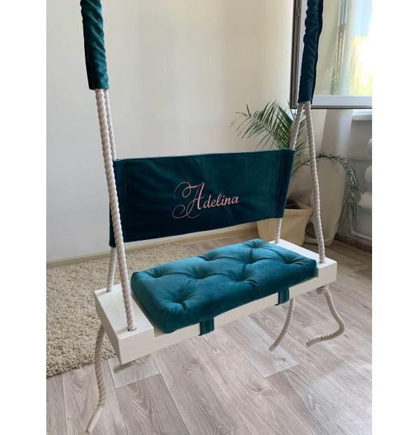 """Wooden swing suspended """"Fairy tale with the name"""" Infancy ™, Mint"""