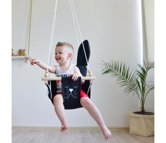 """Hanging fabric children's swing from Infancy ™ """"Ears"""" black"""