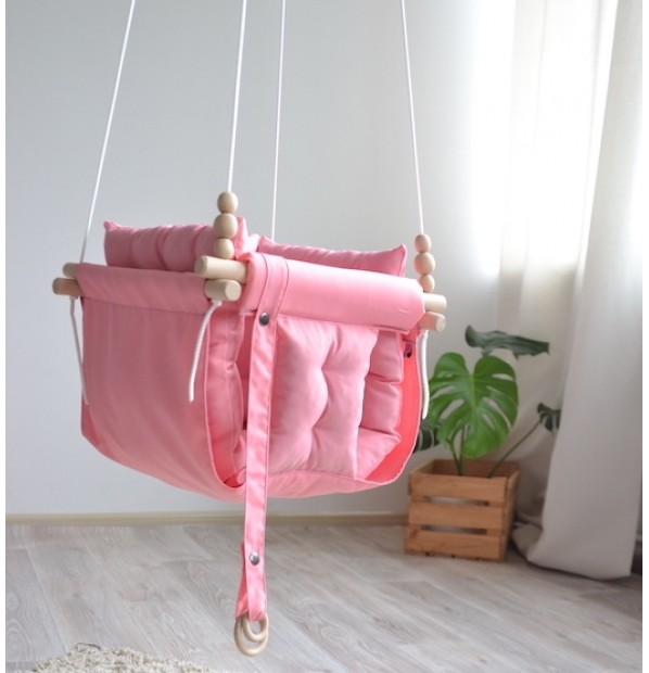 """Fabric suspended children's swing from Infancy """"Galetnaya"""" pink"""