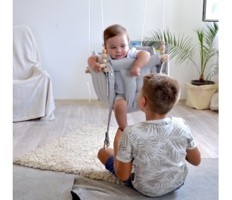 """Fabric suspended children's swing from Infancy """"Galetnaya"""" gray"""